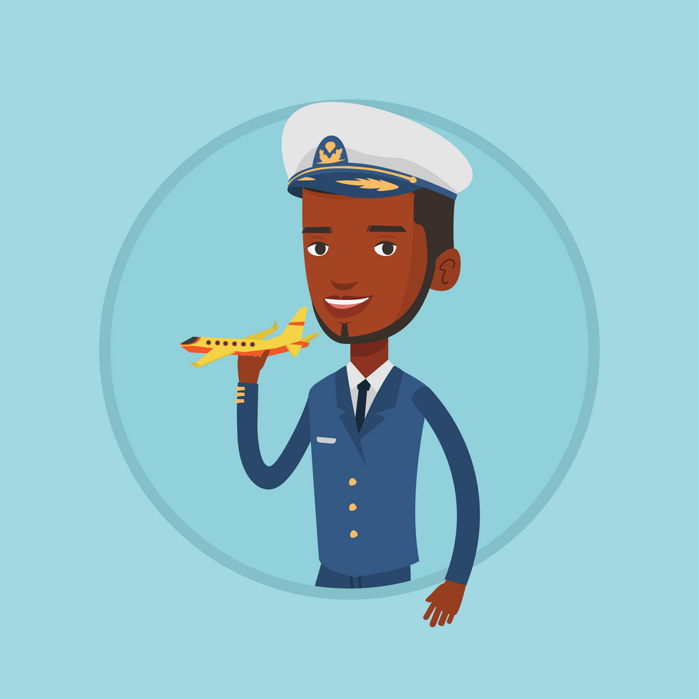 African-american airline pilot in uniform. Airline pilot holding a model airplane in hand. Happy confident pilot model airplane. Vector flat design illustration in the circle isolated on background.
