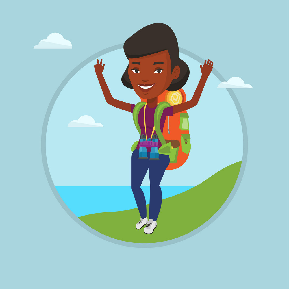 African-american backpacker standing on the cliff and celebrating success. Young backpacker with raised hands enjoying the scenery. Vector flat design illustration in the circle isolated on background