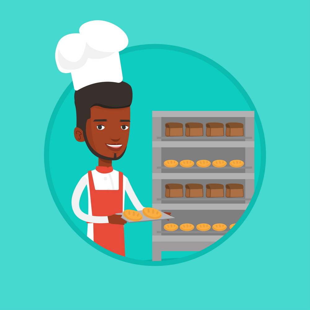 African-american baker holding tray of bread in the bakery. Baker standing near bread rack. Smiling baker holding baking tray. Vector flat design illustration in the circle isolated on background.