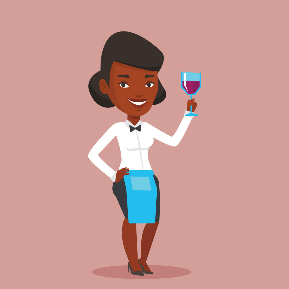 African-american bartender holding a glass of wine in hand. Bartender at work. Waitress looking at glass of red wine. Bartender examining wine in glass. Vector flat design illustration. Square layout.