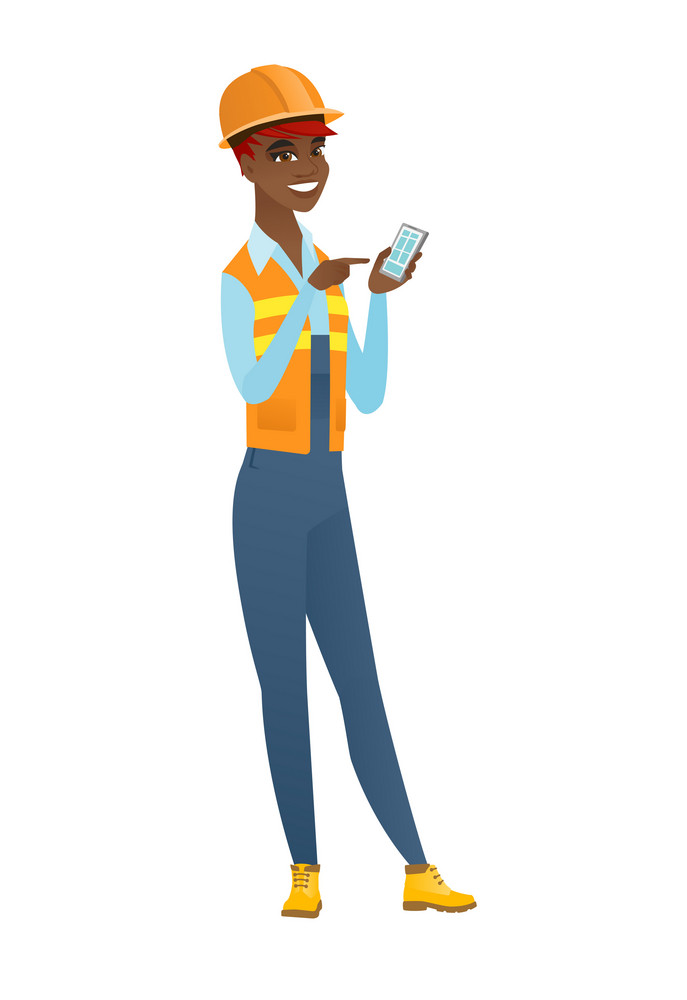 African-american builder holding mobile phone and pointing at it. Full length of builder with mobile phone. Builder using mobile phone. Vector flat design illustration isolated on white background.