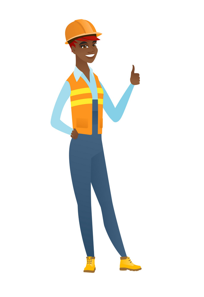 African-american builder in hard hat giving thumb up. Full length of smiling builder with thumb up. Cheerful builder showing thumb up. Vector flat design illustration isolated on white background.