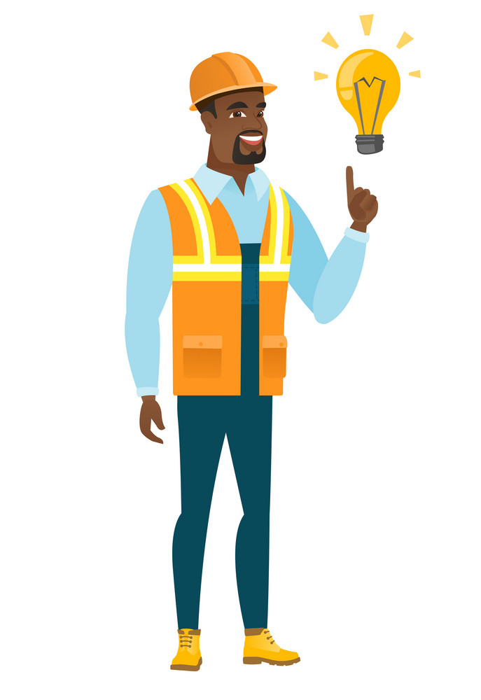 African-american builder in hard hat pointing at idea light bulb. Full length of builder having a creative idea. Successful idea concept. Vector flat design illustration isolated on white background.
