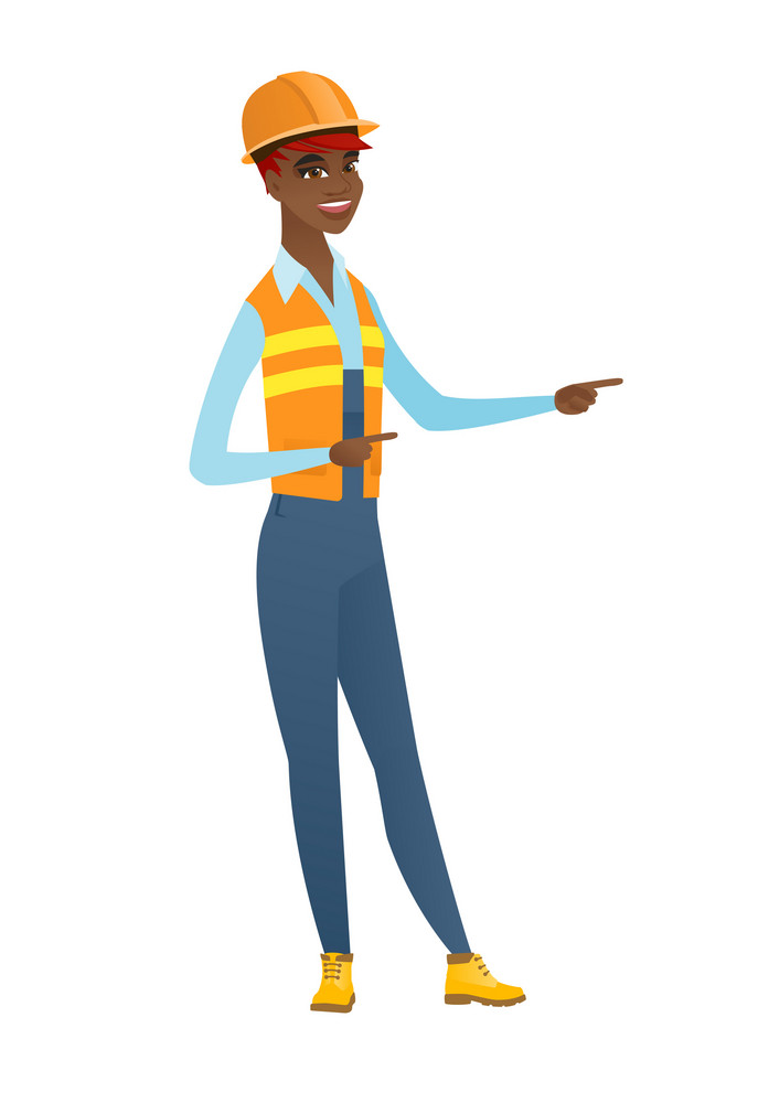 African-american builder in hard hat pointing to the side. Builder pointing her finger to the side. Builder pointing to the right side. Vector flat design illustration isolated on white background.