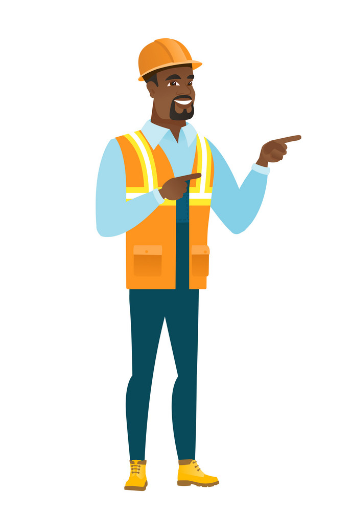 African-american builder in hard hat pointing to the side. Builder pointing his finger to the side. Builder pointing to the right side. Vector flat design illustration isolated on white background.