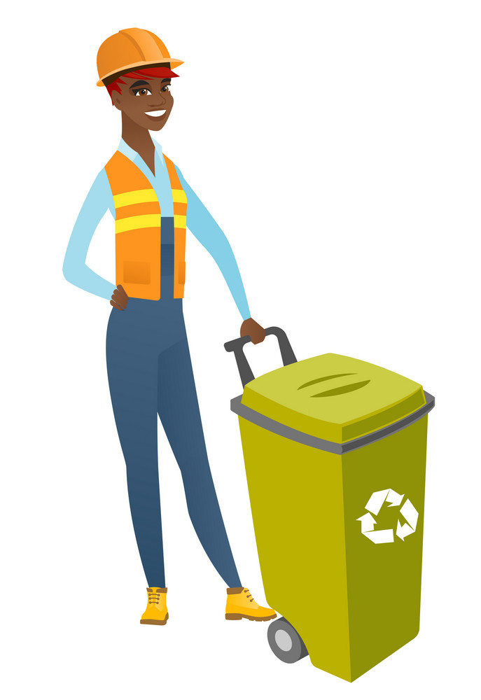 African-american builder in hard hat standing near waste bin with recycling symbol. Full length of young builder pushing recycle bin. Vector flat design illustration isolated on white background.