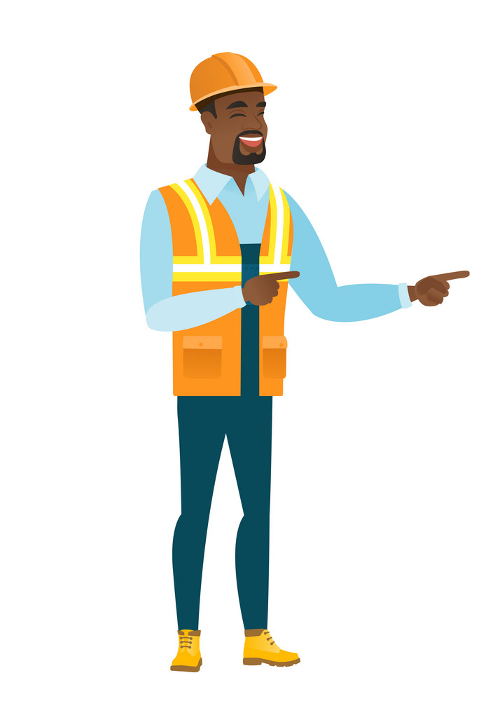 African-american builder indicating with two fingers to the side. Full length of cheerful builder pointing with two fingers to the side. Vector flat design illustration isolated on white background.
