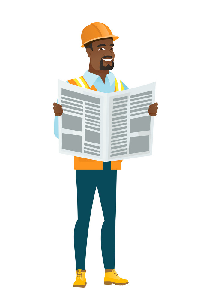 African-american builder reading newspaper. Young happy builder standing with newspaper in hands. Builder reading good news in newspaper. Vector flat design illustration isolated on white background.
