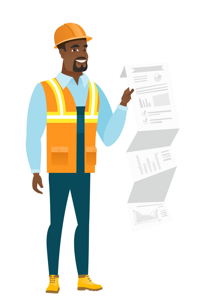 African-american builder showing document with presentation. Full length of young builder giving presentation. Builder making presentation. Vector flat design illustration isolated on white background