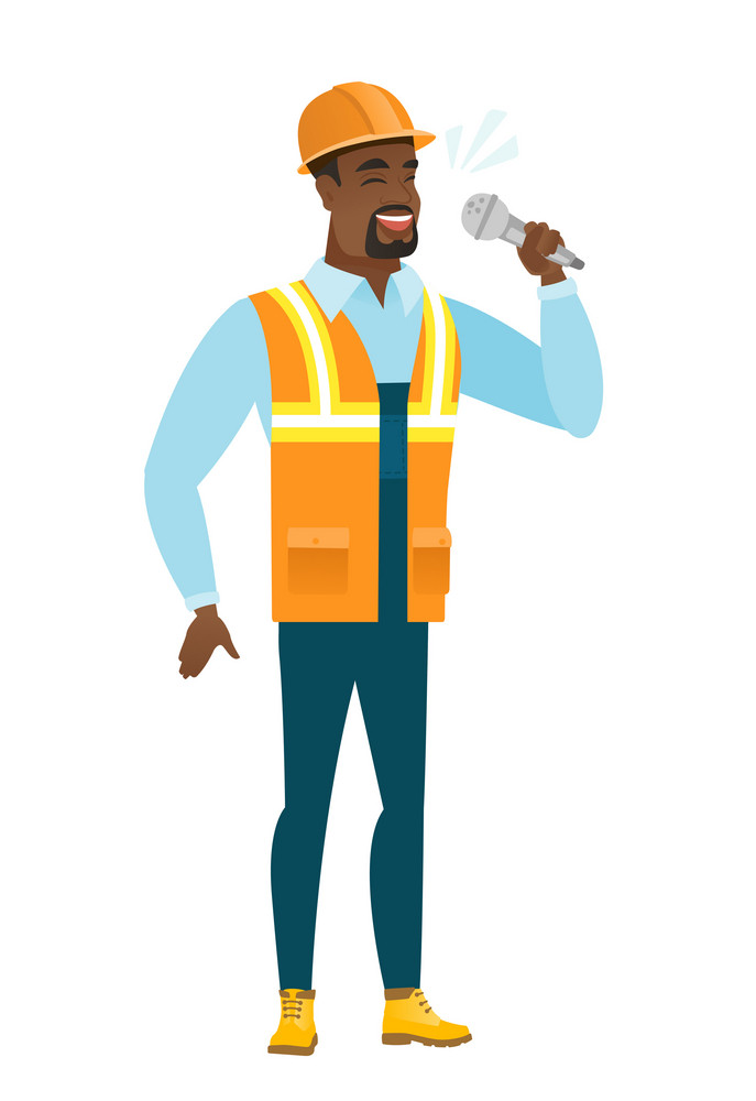 African-american builder singing to the microphone. Full length of builder singing with closed eyes. Happy builder singing to the mic. Vector flat design illustration isolated on white background.