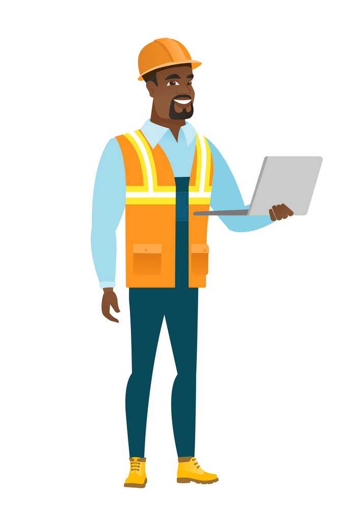 African-american builder using laptop. Full length of young smiling builder in hard hat working on laptop. Cheerful builder holding laptop. Vector flat design illustration isolated on white background