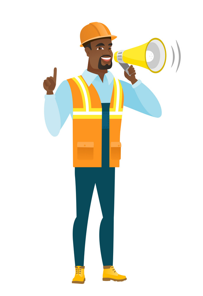 African-american builder with megaphone making an announcement. Builder in hard hat and workwear making an announcement through megaphone. Vector flat design illustration isolated on white background.