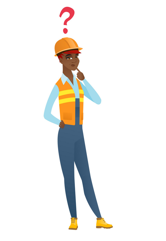 African-american builder with question mark. Young thoughtful builder with question mark. Builder looking at question mark above her head. Vector flat design illustration isolated on white background.