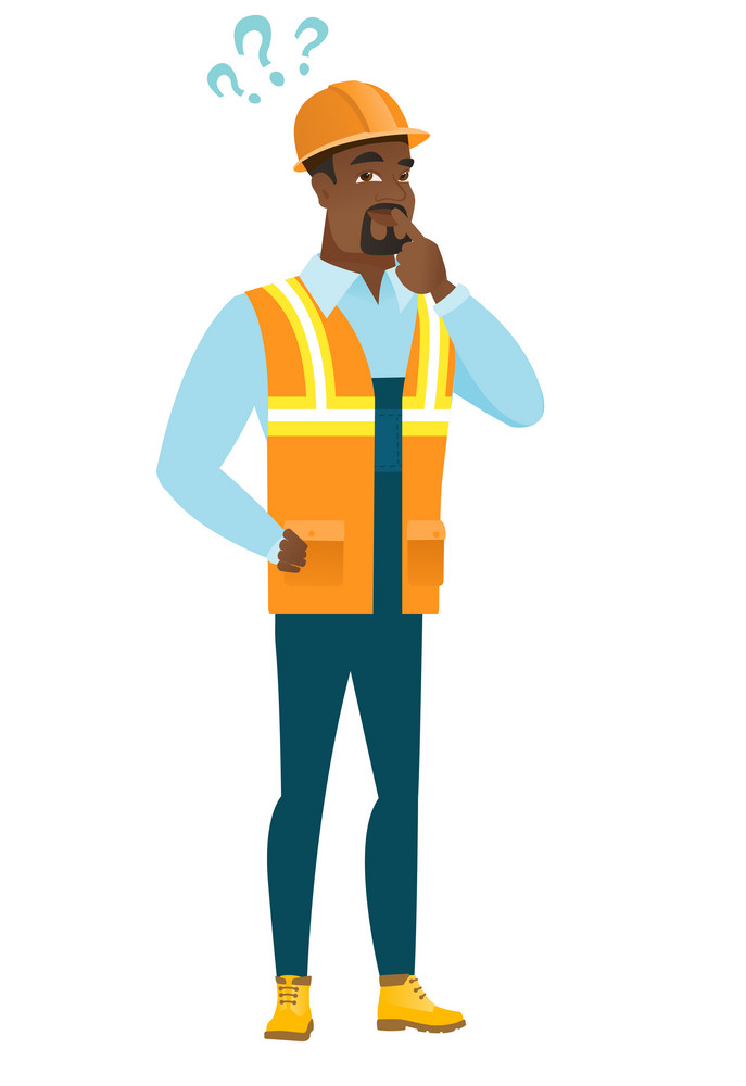 African-american builder with question marks. Thoughtful builder with question marks. Builder looking at question marks above his head. Vector flat design illustration isolated on white background.