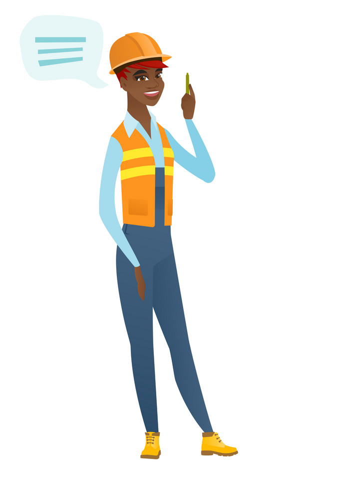 African-american builder with speech bubble. Young builder in hard hat giving a speech. Builder with speech bubble coming out of her head. Vector flat design illustration isolated on white background.