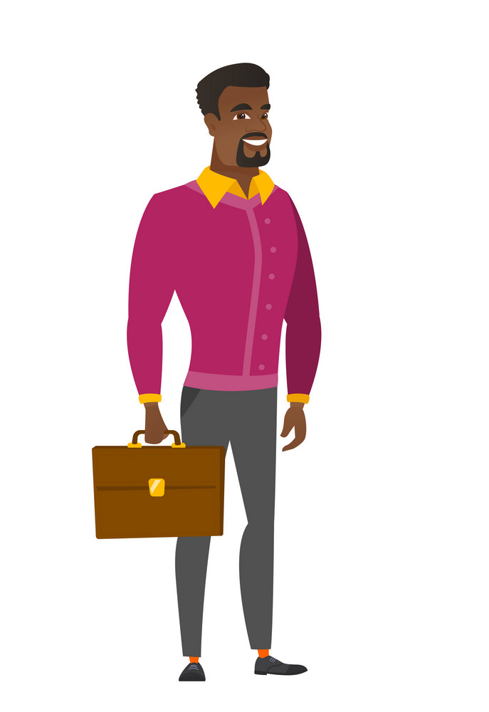 African-american business man holding briefcase. Full length of business man with briefcase. Widely smiling business man holding briefcase. Vector flat design illustration isolated on white background