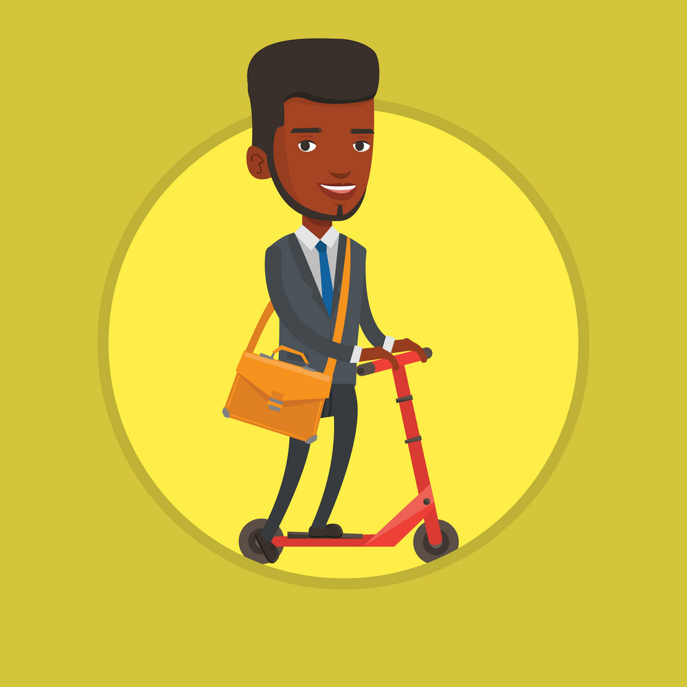 African-american business man riding a kick scooter. Business man riding to work on kick scooter. Business man on a kick scooter. Vector flat design illustration in the circle isolated on background.
