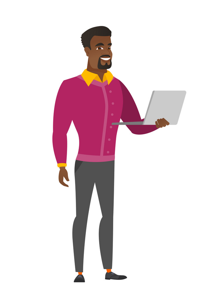 African-american business man using laptop. Full length of smiling business man working on a laptop. Cheerful business man holding laptop. Vector flat design illustration isolated on white background.