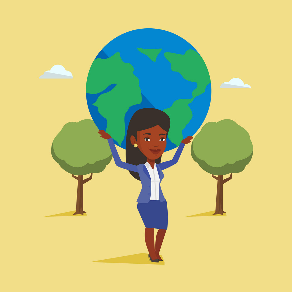 African-american business woman holding big Earth globe over her head. Happy businesswoman taking part in global business. Concept of global business. Vector flat design illustration. Square layout.