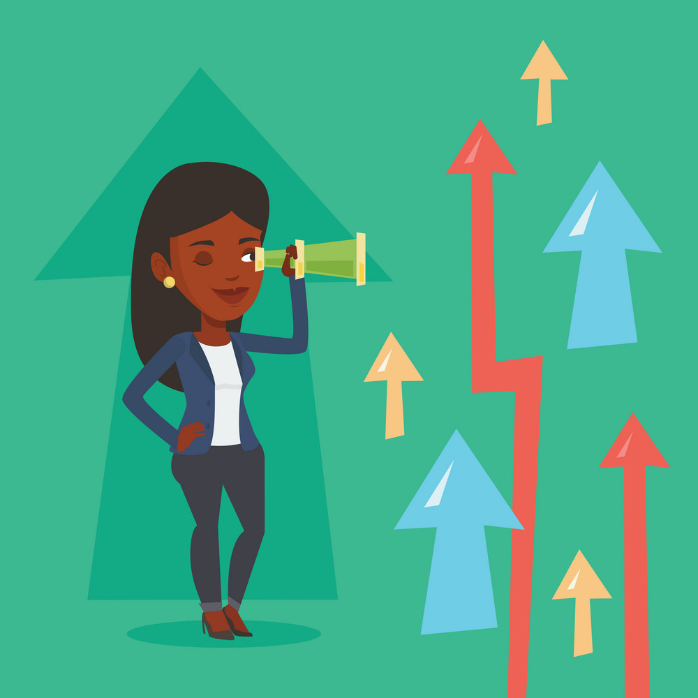 African-american business woman looking through spyglass on arrows going up symbolizing business opportunities. Business vision, opportunities concept. Vector flat design illustration. Square layout.