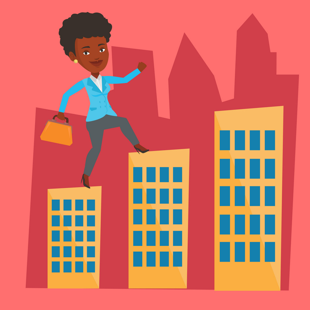 African-american business woman walking on the roofs of city buildings. Woman walking on the roofs of skyscrapers. Business woman walking to the success. Vector flat design illustration. Square layout