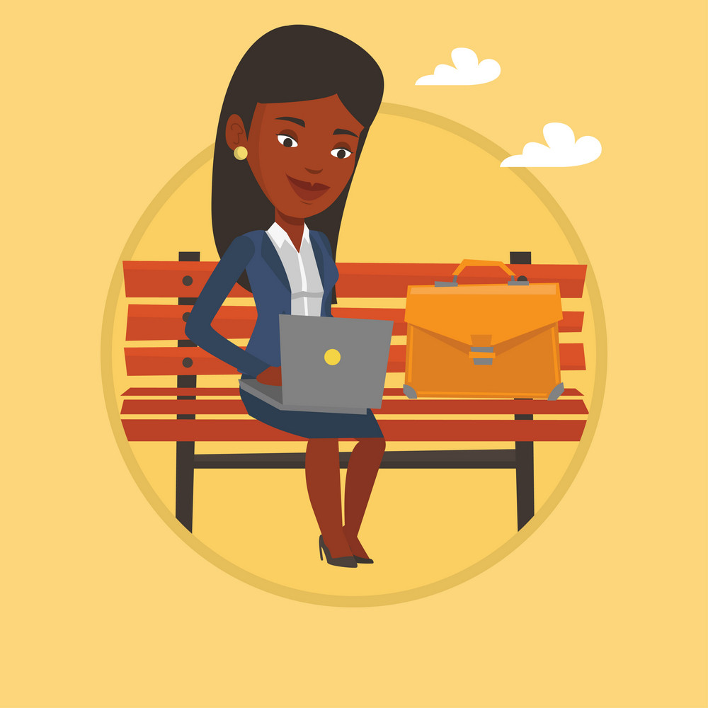 African-american business woman working outdoor. Business woman working on a laptop. Woman sitting on bench and working on laptop. Vector flat design illustration in the circle isolated on background.