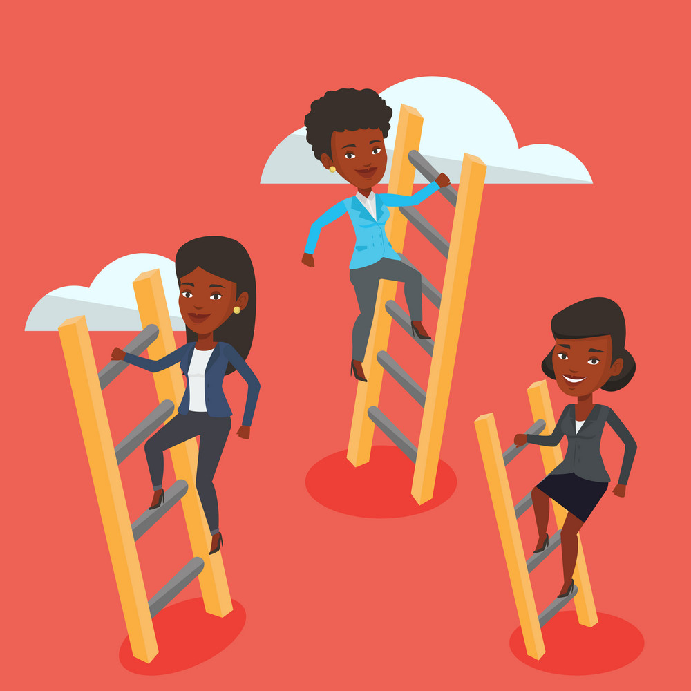 African-american business women climbing the ladders. Young competitive business women climbing on the cloud to success. Business competition concept. Vector flat design illustration. Square layout.