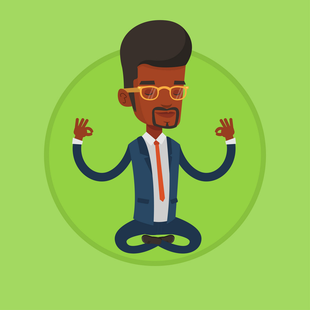 African-american businessman in suit relaxing in lotus position. Businessman with eyes closed meditating in yoga lotus position. Vector flat design illustration in the circle isolated on background.