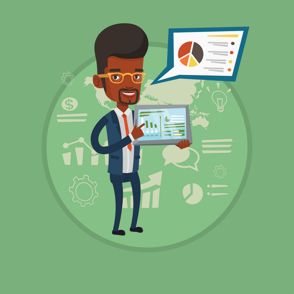 African-american businessman presenting report on a digital tablet. Businessman pointing at the charts on tablet computer screen. Vector flat design illustration in the circle isolated on background.