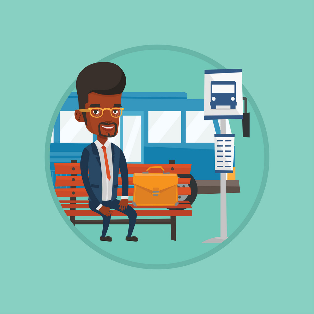African-american businessman waiting for a bus at the bus stop. Businessman sitting at bus stop. Man sitting on a bus stop bench. Vector flat design illustration in the circle isolated on background.