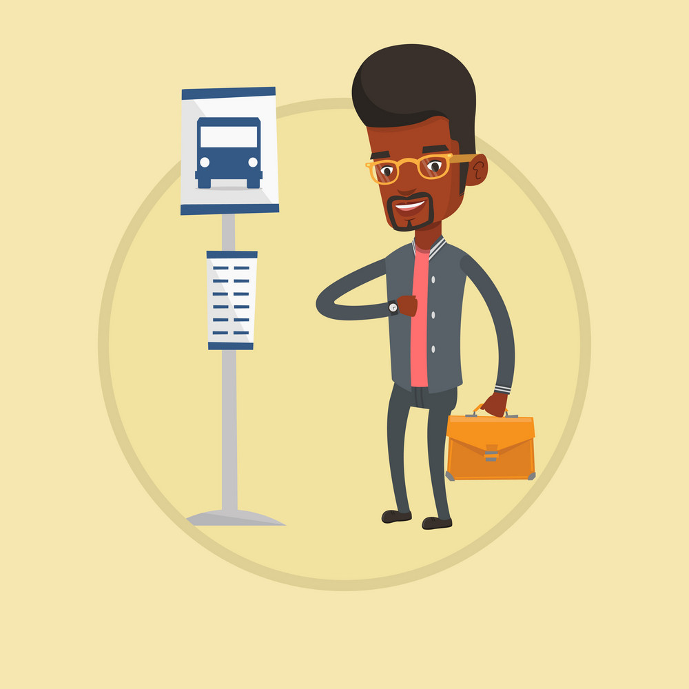 African-american businessman waiting for a bus at the bus stop. Man standing at the bus stop. Man looking at watch at the bus stop. Vector flat design illustration in the circle isolated on background