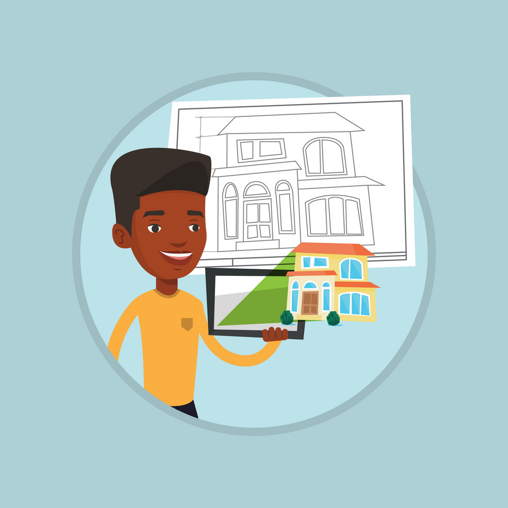 African-american businessman with digital tablet showing the photo of house. Business man looking at house photo on digital tablet. Vector flat design illustration in the circle isolated on background