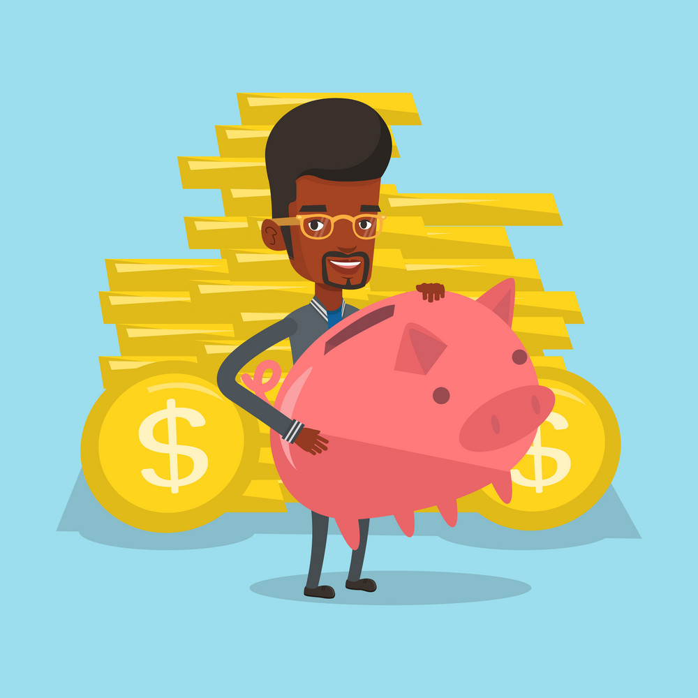 African-american businessman with piggy bank and gold coins on background. Businessman holding a big piggy bank. Businessman saving money in piggy bank. Vector flat design illustration. Square layout.