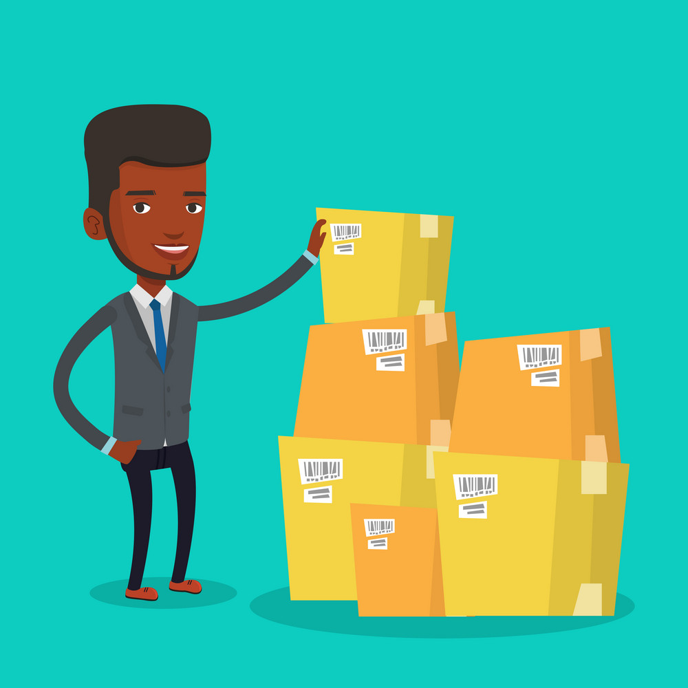 African-american businessman working in warehouse. Businessman checking boxes in warehouse. Young businessman preparing goods for dispatch in warehouse. Vector flat design illustration. Square layout.