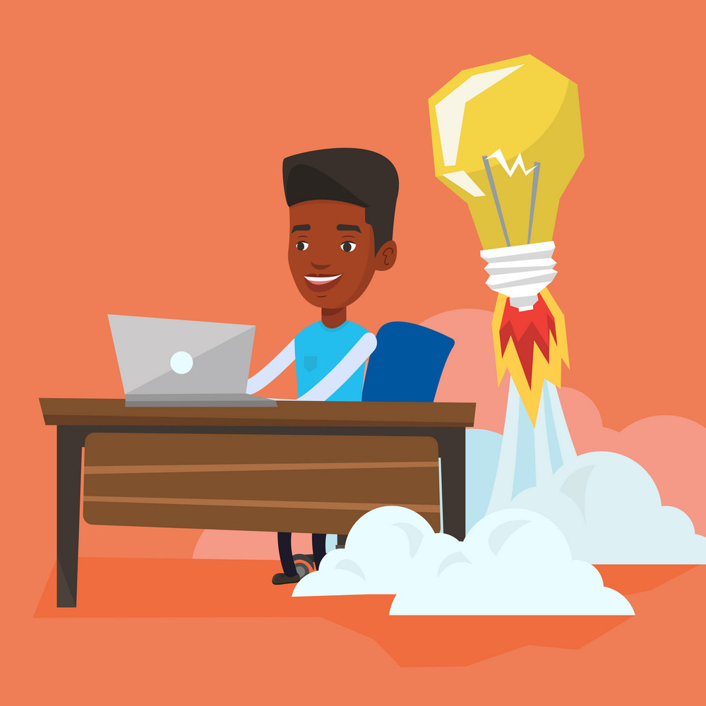 African-american businessman working on laptop in office and idea bulb taking off behind him. Man having business idea. Successful business idea concept. Vector flat design illustration. Square layout