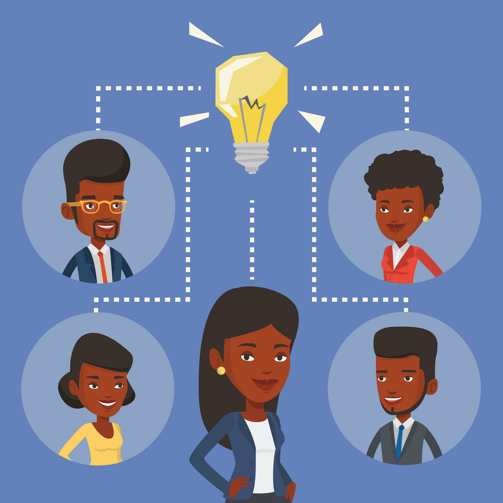 African-american businessmen working at business ideas. Businessmen discussing business idea. Group of business people connected by one idea light bulb. Vector flat design illustration. Square layout.