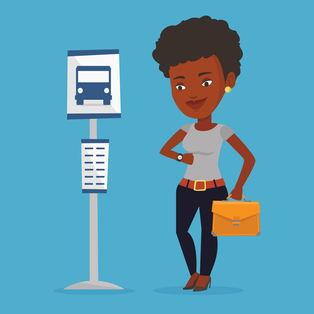 African-american businesswoman with briefcase waiting at the bus stop. Young woman standing at the bus stop. Woman looking at her watch at the bus stop. Vector flat design illustration. Square layout.