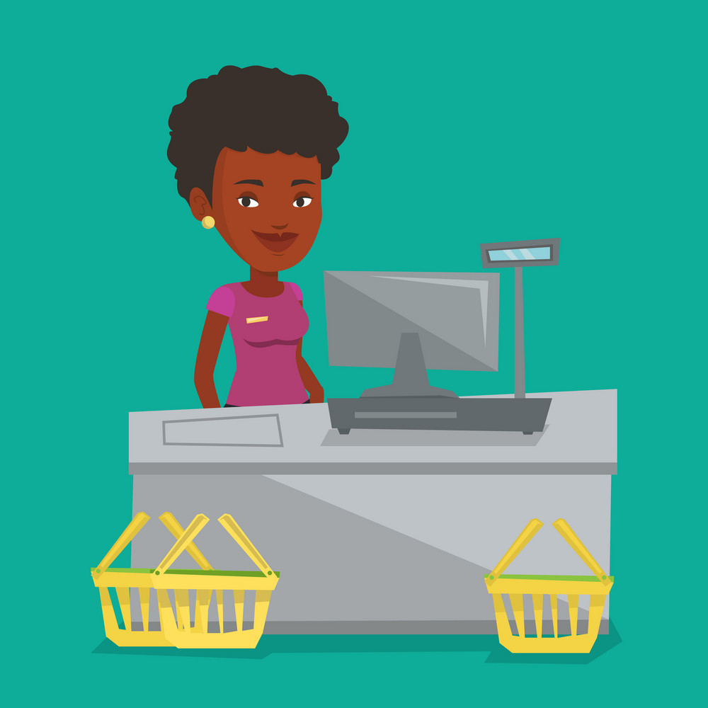African-american cashier standing at the checkout in supermarket. Cashier working at checkout in a supermarket. Cashier standing near the cash register. Vector flat design illustration. Square layout.