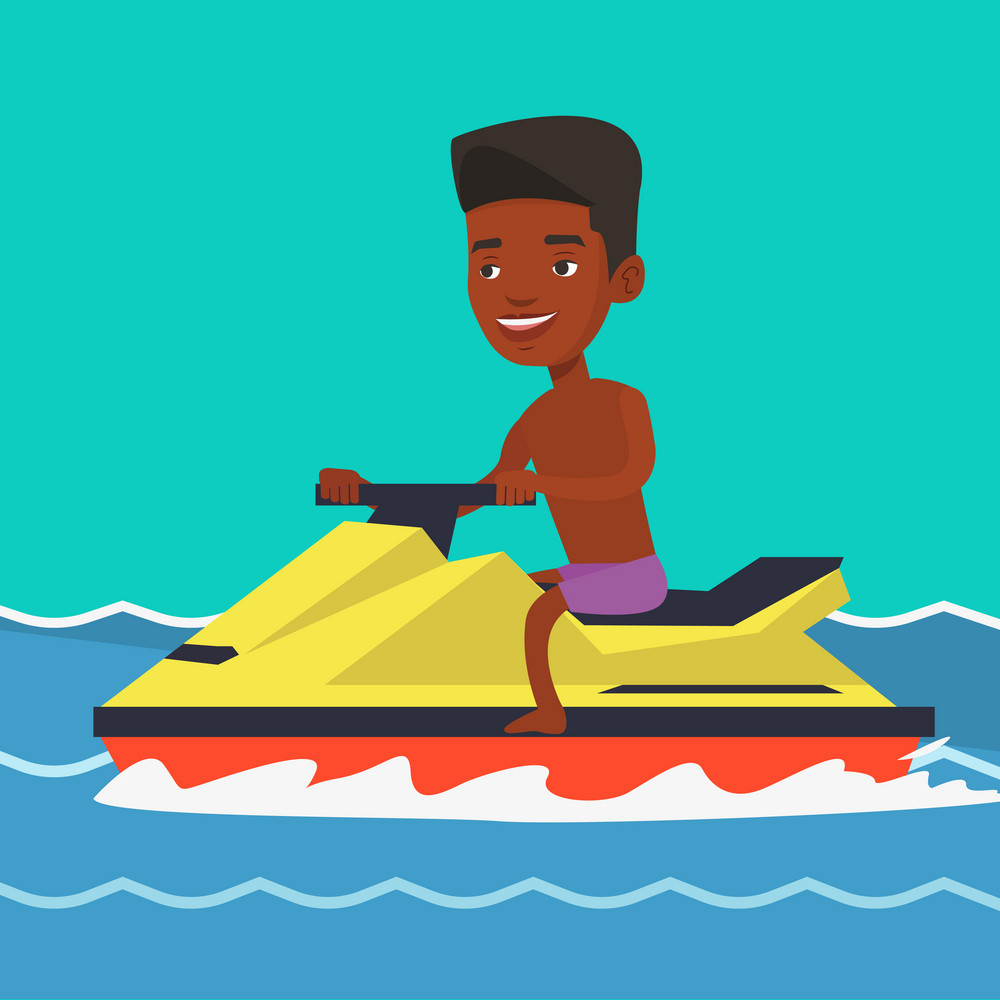 African-american cheerful man on jet ski in the sea at summer sunny day. Young smiling man riding on a jet ski. Happy man training on a jet ski. Vector flat design illustration. Square layout.