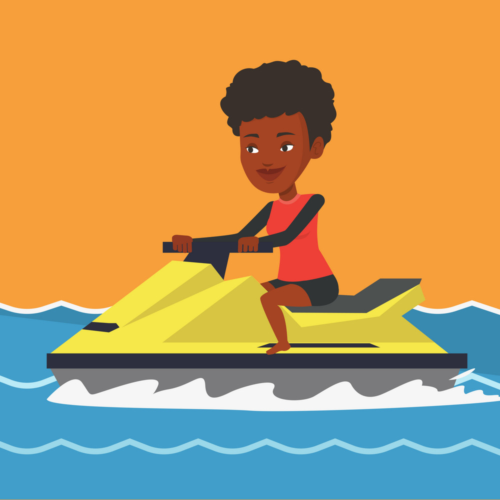 African-american cheerful woman on jet ski in the sea at summer sunny day. Young smiling woman riding on a jet ski. Happy woman training on a jet ski. Vector flat design illustration. Square layout.
