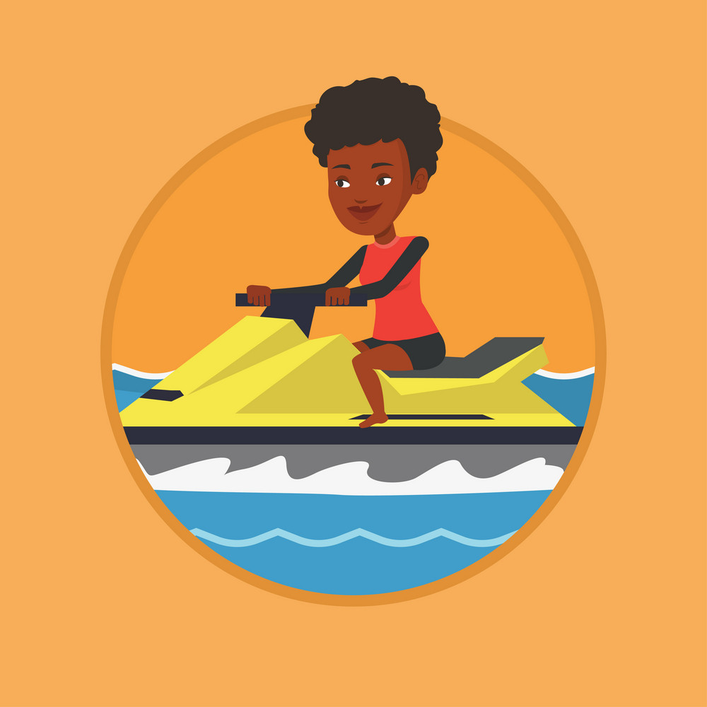 African-american cheerful woman on jet ski in the sea. Young woman riding on a water scooter. Happy woman training on a jet ski. Vector flat design illustration in the circle isolated on background.