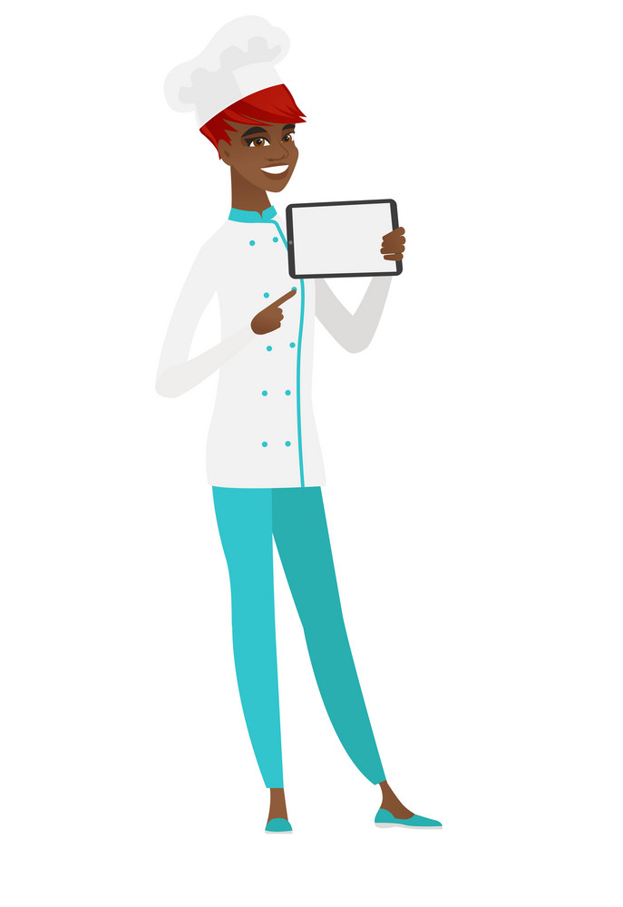 African-american chef cook holding tablet computer. Full length of chef cook pointing at tablet computer. Chef cook with tablet computer. Vector flat design illustration isolated on white background.