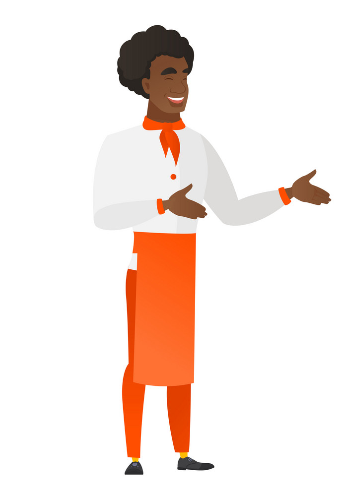 African-american chef cook in uniform gesturing. Full length of chef cook gesturing with his hands. Chef cook laughing and gesturing. Vector flat design illustration isolated on white background.