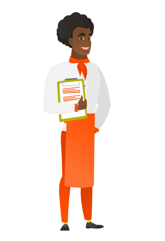 African-american chef cook in uniform holding clipboard with papers. Full length of chef cook with papers. Young chef cook holding papers. Vector flat design illustration isolated on white background.