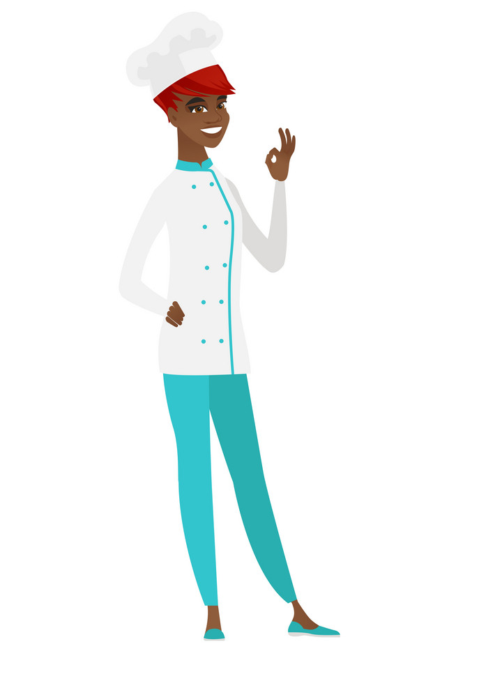 African-american chef cook in uniform showing ok sign. Cheerful chef cook making ok sign. Successful happy chef cook gesturing ok sign. Vector flat design illustration isolated on white background.