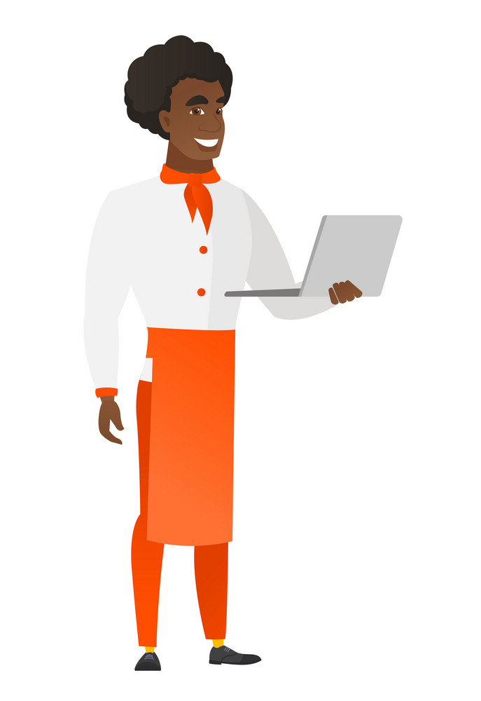 African-american chef cook in uniform using laptop. Full length of young chef cook working on a laptop. Cheerful chef cook holding laptop. Vector flat design illustration isolated on white background