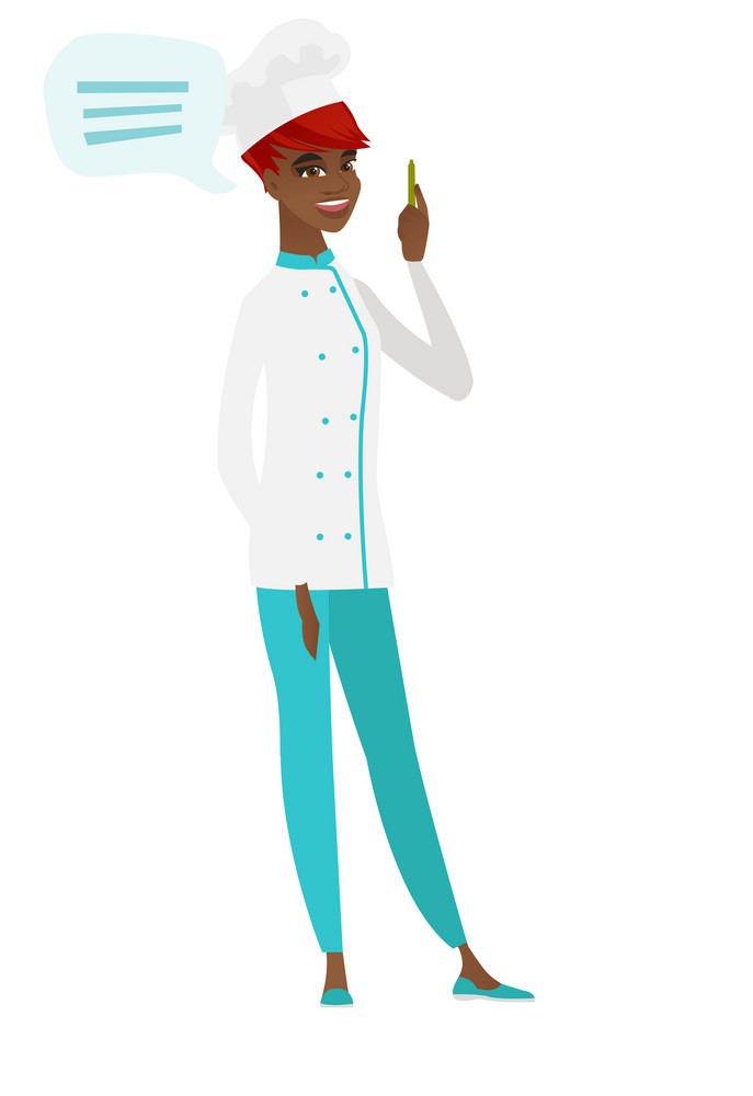 African-american chef cook with speech bubble. Chef cook giving speech on conference. Chef cook with speech bubble coming out of her head. Vector flat design illustration isolated on white background.