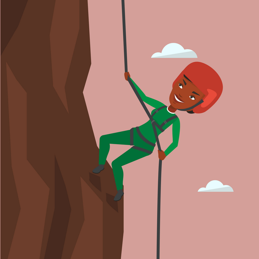 African-american climber in action. Climber in protective helmet climbing on a rock. Smiling woman climbing in mountains with rope. Girl climbing a rock. Vector flat design illustration. Square layout