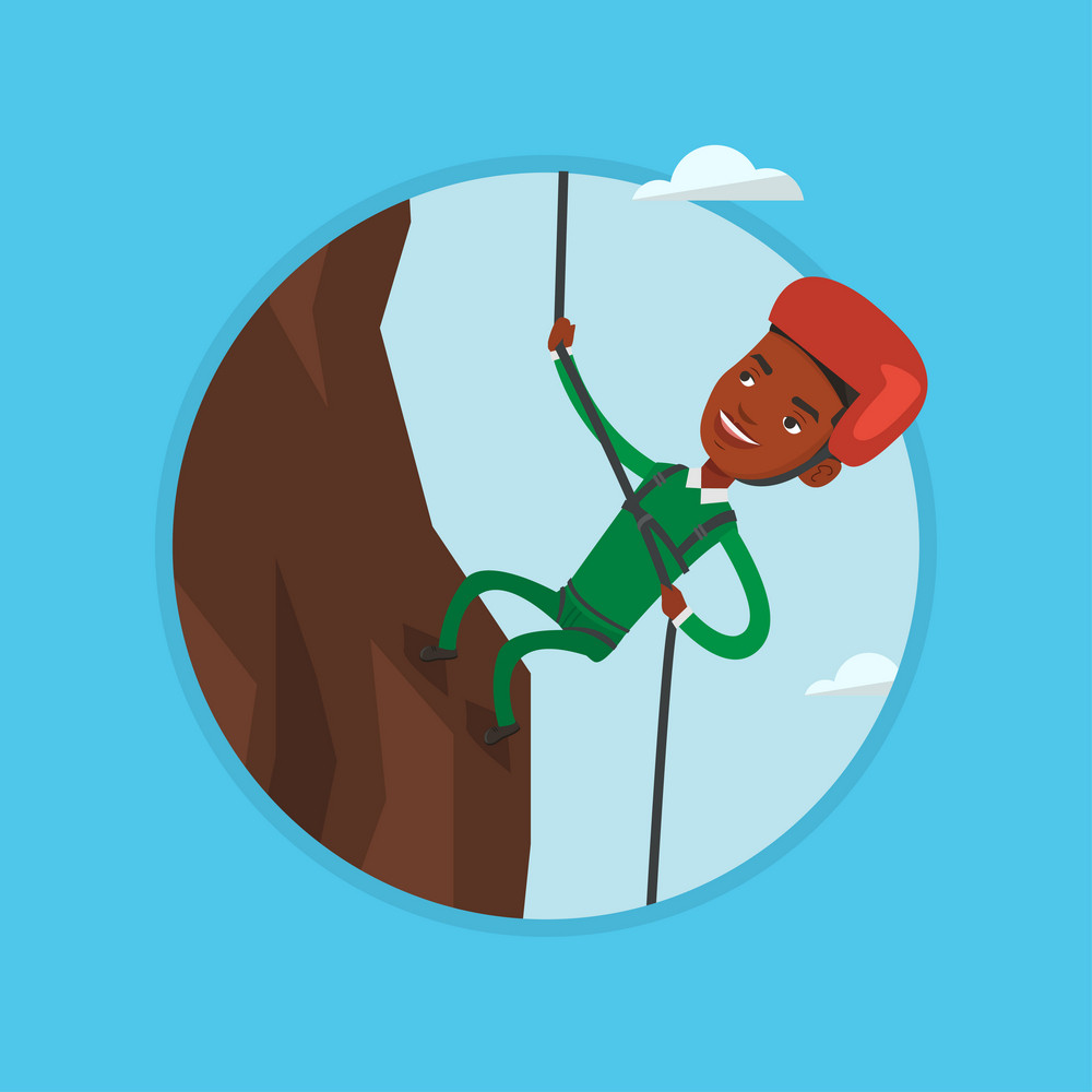 African-american climber in action. Rock climber in protective helmet climbing on a rock. Man climbing in mountains with rope. Vector flat design illustration in the circle isolated on background.