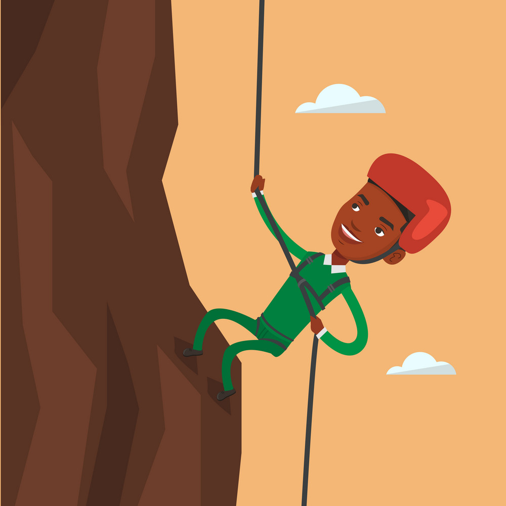 African-american climber in action. Rock climber in protective helmet climbing on rock. Smiling man climbing in mountains with rope. Man climbing a rock. Vector flat design illustration. Square layout